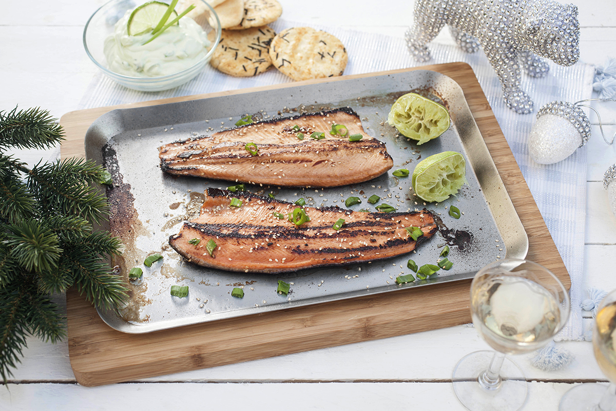 Smoke-salted Rainbow Trout with Wasabi Cream Cheese