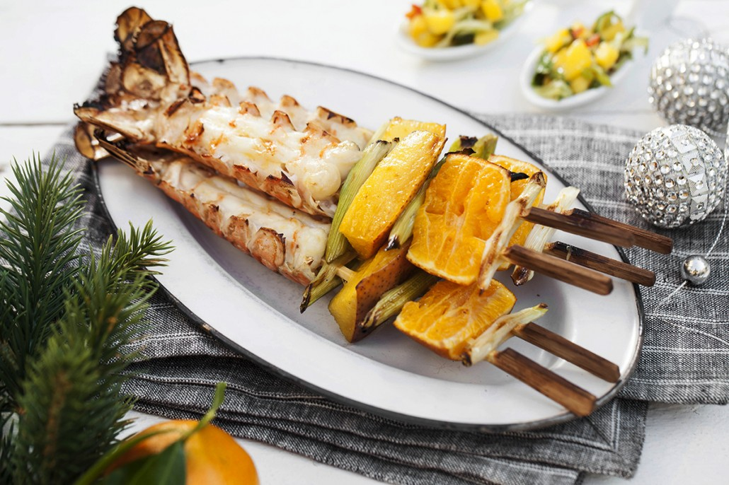 Grilled Scampi with Mango and Cucumber Salsa