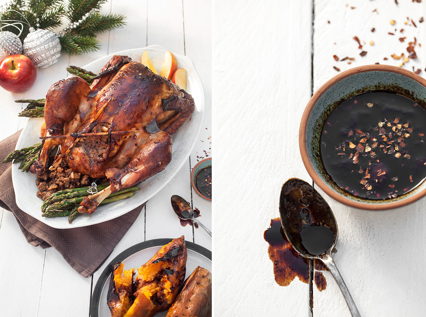 Hoisin Glazed Barbecued Turkey with Pork, Fruit and Water Chestnut Stuffing